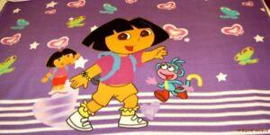 Dora-Hearts-amp-Butterflies-on-Lavender-Purple-Fleece-Panel-Fabric-FREE-SHIP