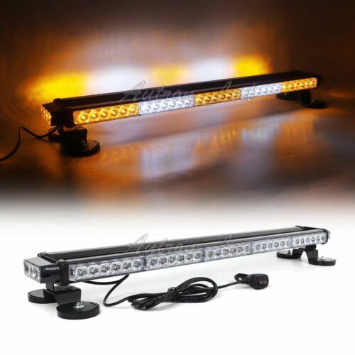 """34/"""" LED Traffic Advisor Emergency Beacon Signal Strobe Light Bar Amber White 66W"""