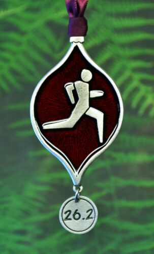 26.2 Marathon Runner Christmas Ornament  Decorations for Runners in Fine Pewter