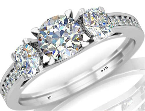3 Stone Dazzling Simulated Diamonds 925 Silver Wedding Engagement Ring 2.50ct