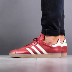 Poner la mesa Por Golpeteo  Adidas Originals Gazelle Premium Red Leather GOLD GUM Brown White Men's 9  Shoes | eBay
