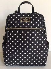 NWT Kate Spade Hilo Blake Avenue Nylon Backpack Handbag Black / Diamond Dot