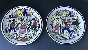 Image is loading Rare-Vintage-Mexican-Ceramic-Plates-Hand-Painted-Taxco & Rare Vintage Mexican Ceramic Plates- Hand Painted- Taxco | eBay