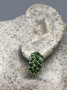 Vintage-Handmade-Genuine-Chrome-Diopside-Gemstone-925-Sterling-Silver-Earrings