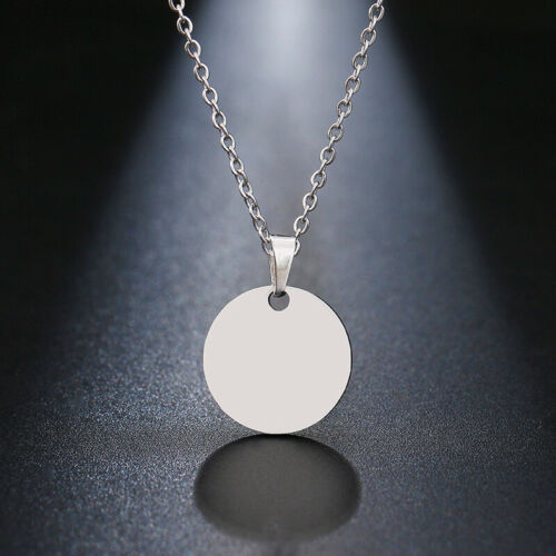 Silver Gold Circle Round Coin Pendant Chain Necklace Womens Girls Jewelry Gifts