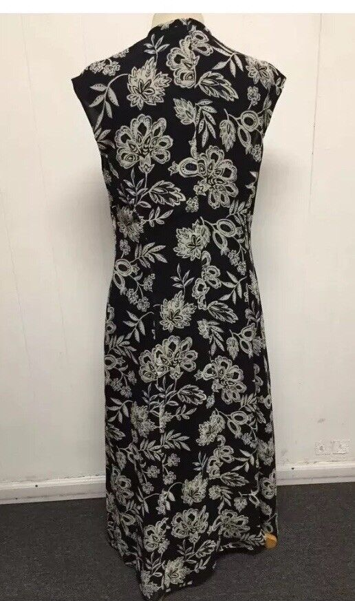 Talbots Women Women Women Dress Navy Floral Lined 100% Pure Silk Sleeveless size 8 15dd43