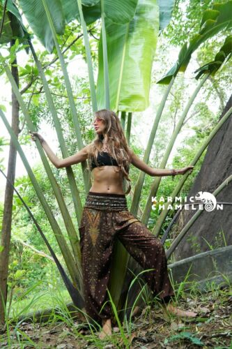 Harem Hippie Pants Peacock Feather Brown Yoga Festival Aladdin Boho Gypsy Comfy
