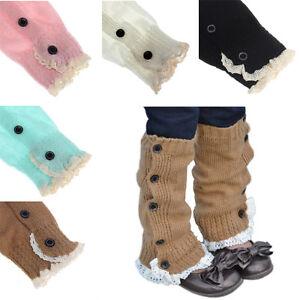 Kids-Girl-Lace-Crochet-Socks-Knitted-Boot-Cuffs-Toppers-Leg-Warmer-Acrylic-Socks