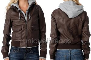 405fc300f Details about OBEY Womens JEALOUS LOVER Brown /Heather Faux Leather Hooded  Bomber JACKET XS