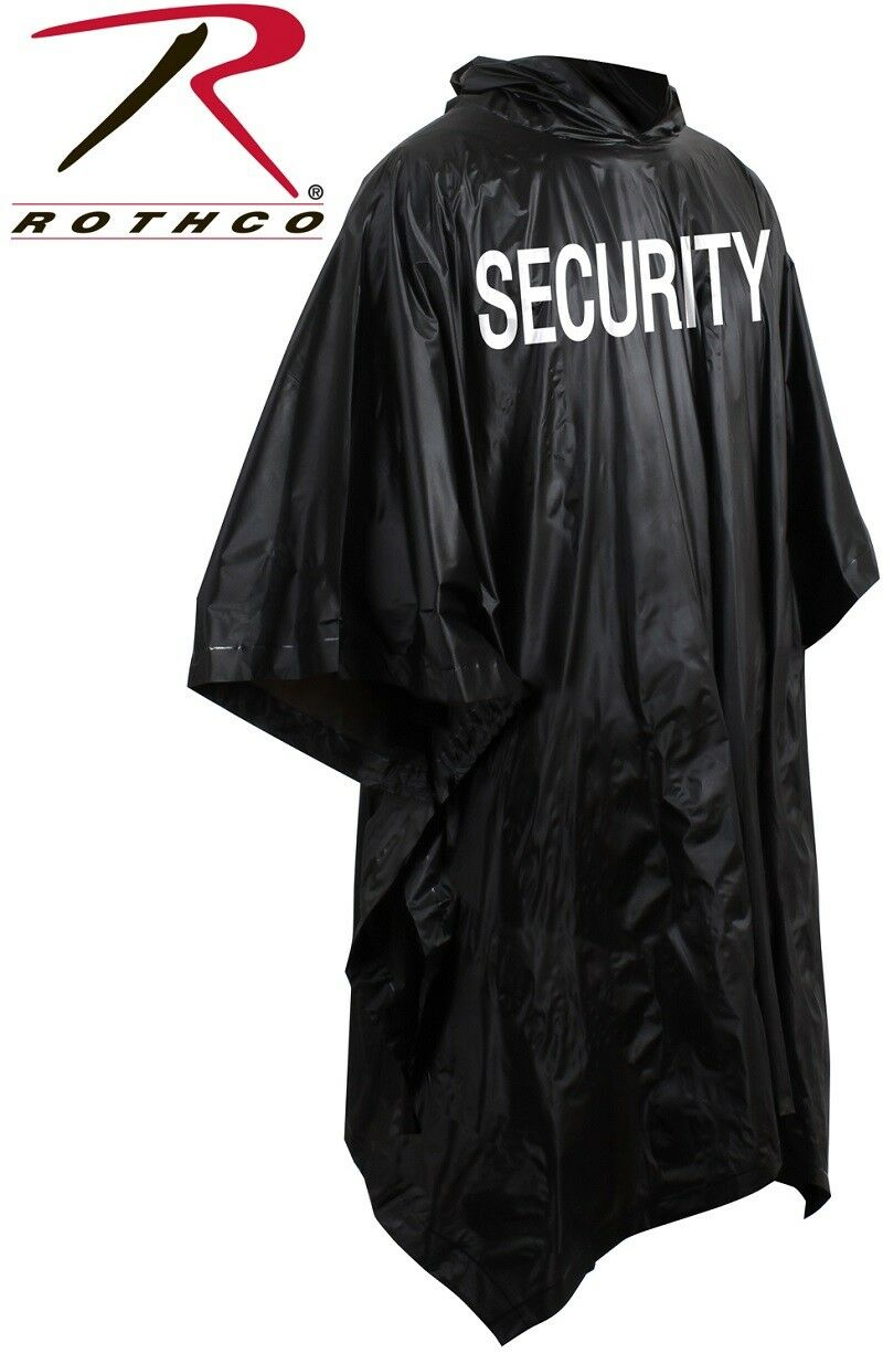 426bfcb78 Black Waterproof Security Poncho Vinyl Hooded 3687 Rothco for sale online |  eBay