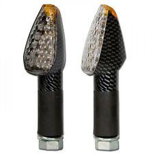 Klarglas LED Mini-Blinker, weisse Miniblinker peak, carbon-Look 40mm lang