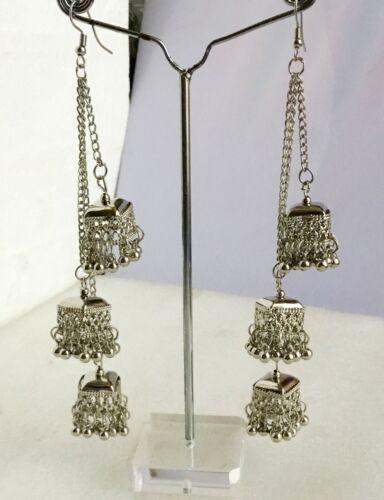 Jhumka Indian Earrings Oxidized Bollywood Bridal Jewelry Long Silver Mugal Pair