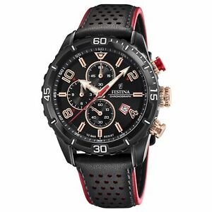 Festina F20519-4 Men's Chronograph Black Dial And Leather Strap Wristwatch