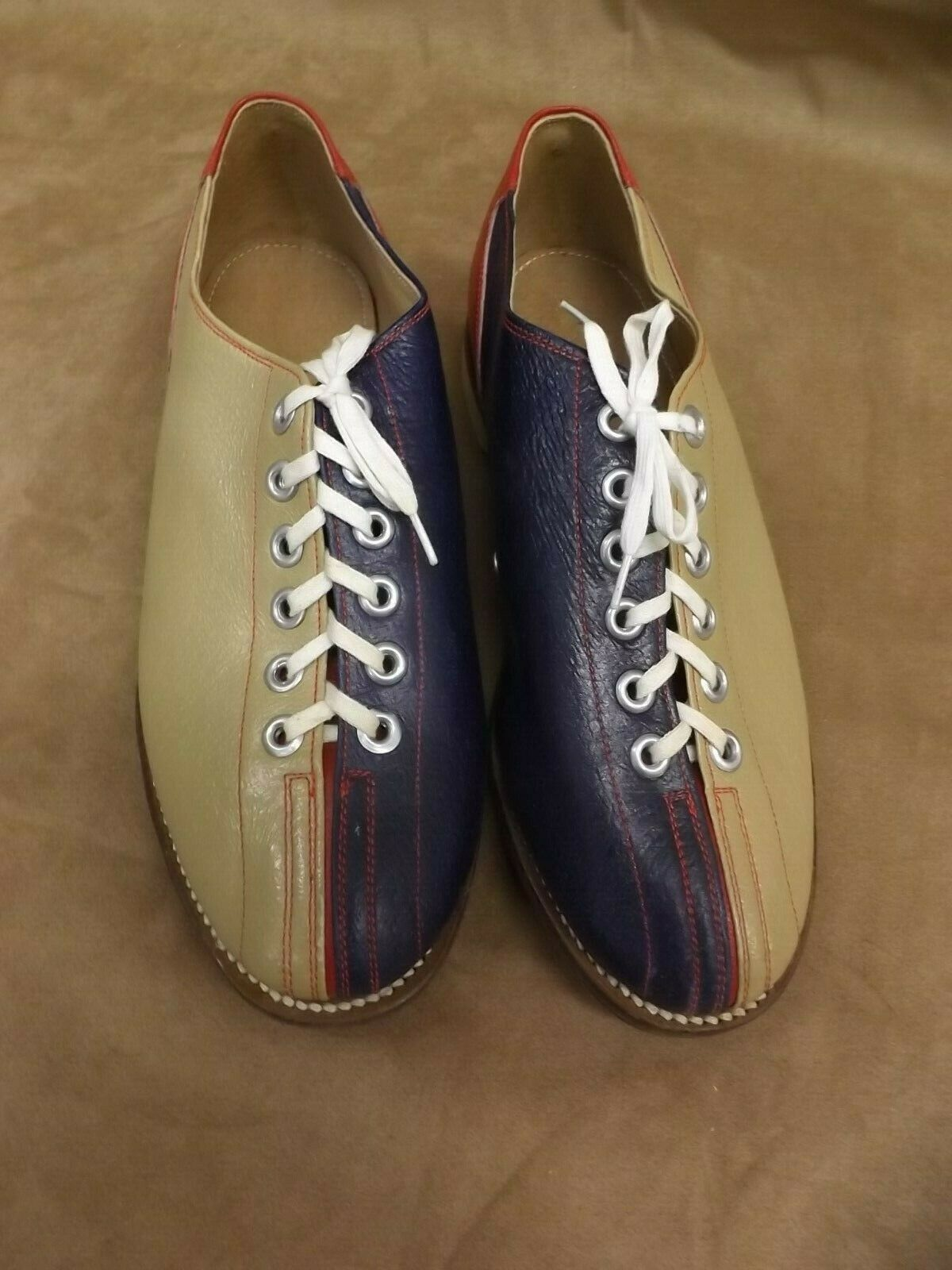 VTG NEW NOS blueee Red Tan Leather Soles & Upper Bowling Rental shoes Womens Sz 6