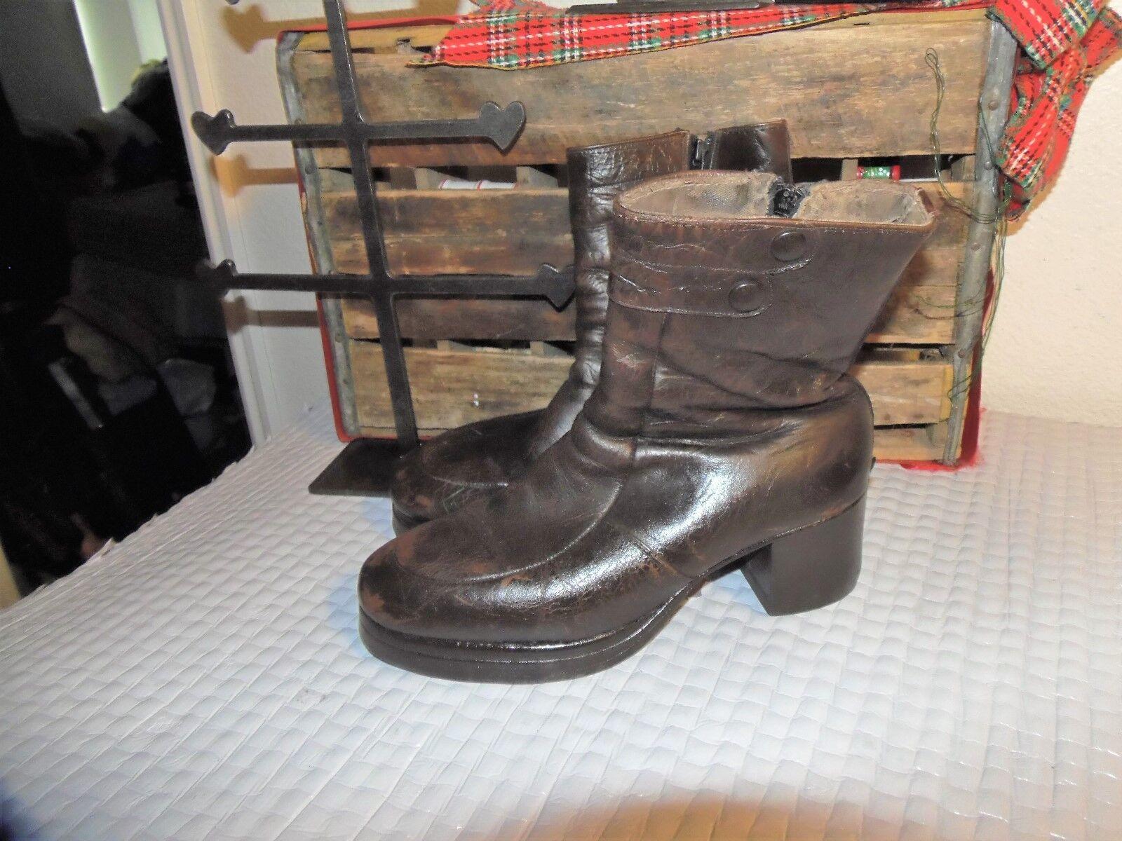 VINTAGE Leather DISCO Stiefel 9.5 9.5 D PLATFORM Stiefel 9.5 DISCO Stiefel 9.5 9.5 99317b