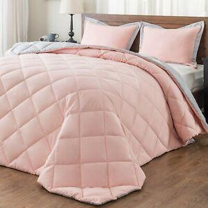 Cute Queen Comforter Set Pink Grey For