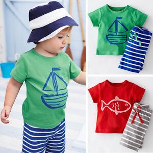 bc939fec36d9 2PCS Summer Kids Toddler Baby Boy Cute T-Shirt Top Shorts Pants ...