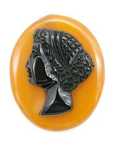 VINTAGE-1920-30-039-S-ESTATE-BLACK-CELLULOID-BUTTERSCOTCH-BAKELITE-CAMEO-PIN-BROOCH