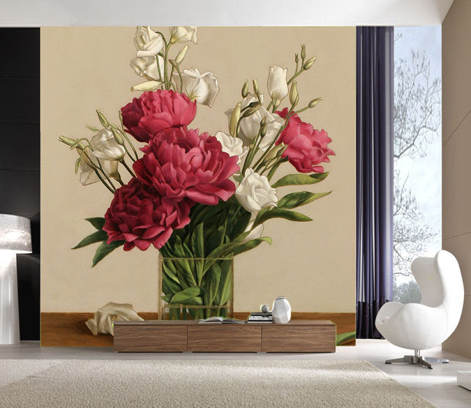3D ROT Flowers Leaf Paper Wall Print Decal Wall Wall Murals AJ WALLPAPER GB