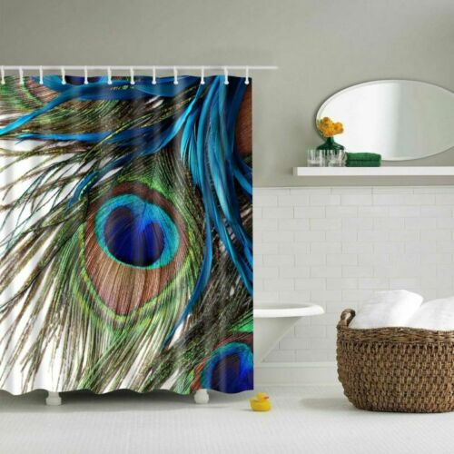 Peacock Feathers Polyester 12 Hook Waterproof Bathroom Fabric Shower Curtain