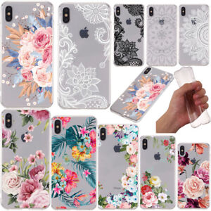 For-iPhone-XS-Max-XR-X-8-7-6s-Plus-Slim-Soft-Clear-Floral-Painted-TPU-Case-Cover