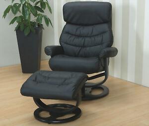 Kunstleder-Relax-Sessel-Hocker-Fernsehsessel-Polstersessel-Wohnzimmer-schwarz