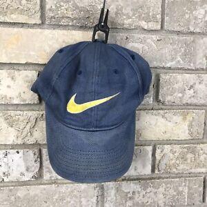 Vtg-90s-Distressed-Faded-Nike-Big-Logo-Hat-Snapback-Yellow-Rare-OG-Cap-Vintage