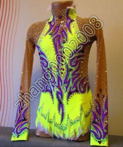 5a035e057dfb Image is loading rhythmic-gymnastics-leotard-yellow-competition -AcrobaticTwirling-dance-RG-