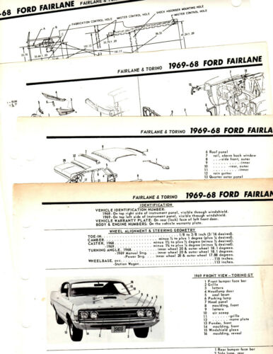 1968 1969 FORD FAIRLANE TORINO MOTOR/'S ORIGINAL BODY FRAME CRASH ILLUSTRATIONS