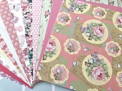 14 X Pretty Vintage Floral Theme 6x6 Scrapbook Papers Card Double Sided Ebay