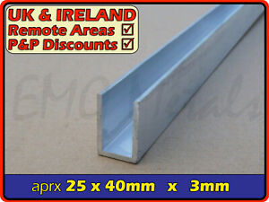 "Aluminium Channel║1"" x 1.5""║(C U section, gutter, profile,edging,alloy)"