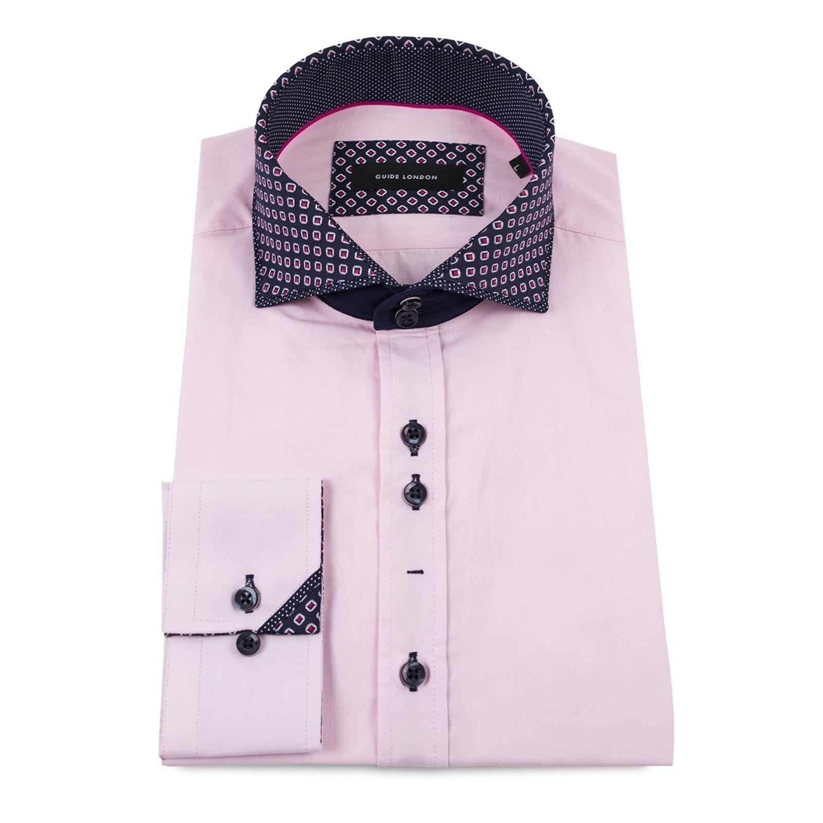 Guide London Layered Print Collar Pink Mens Shirt