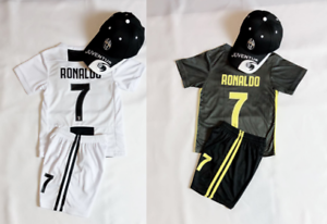 cheaper 2972b ba731 Details about New Soccer Home Away Jersey Juventus #7 Ronaldo Adult Kids  Kit Top+Short + Caps