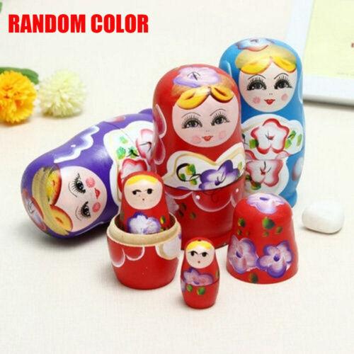 5pcs//set Wooden Hand Painted Russian Girl Matryoshka Nesting Dolls Hot
