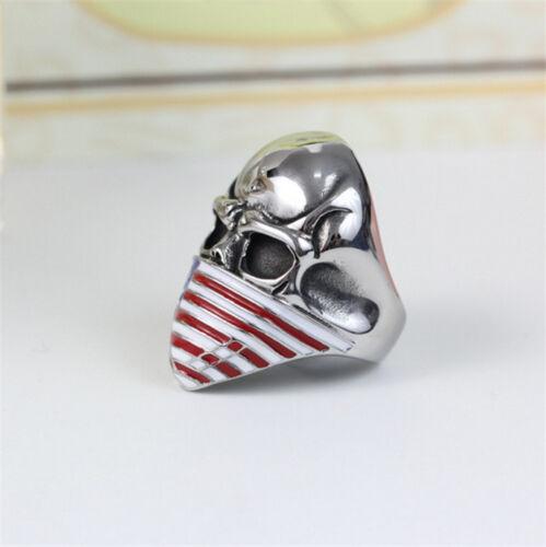 Men/'s 316L Stainless Steel Vogue Design USA Flag pattern Skull Ring Size 8910 11