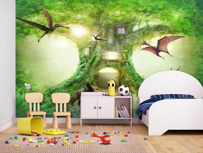3D Enormous Lush Tree Animals Wall Paper Wall Print Decal Wall Deco AJ WALLPAPER