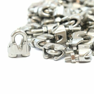 """100 1//8/"""" 3mm Stainless Steel Wire Rope Clips Cable Saddle Clamps U Bolt Cinch"""