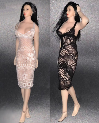 1//12 Scale Female Black Evening Dress Lace Clothing Fit 6/'/' Action Figure Toy