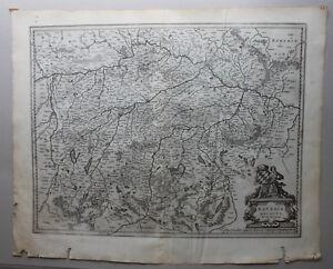 Kupferstichkarte-Bavaria-Ducatus-Oberbayern-um-1610-Landkarte-Geografie-sf