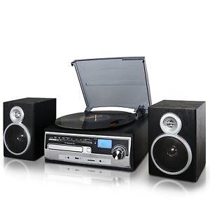 RECORD-VINYL-LP-CD-PLAYER-TURNTABLE-STEREO-SPEAKER-SYSTEM-FM-RADIO-BLUETOOTH-USB