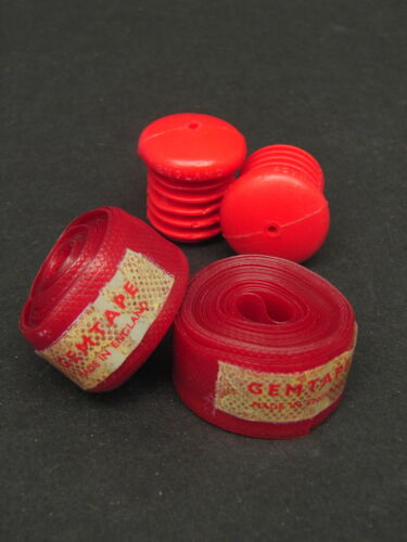 Vintage NOS GEMTAPE Bicycle Bike Handle Bar Red Tape Wrap Rolls and End Plugs