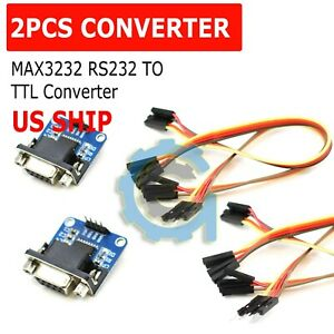 2pcs-MAX3232-RS232-Serial-Port-To-TTL-Converter-Module-DB9-Connector-w-cable