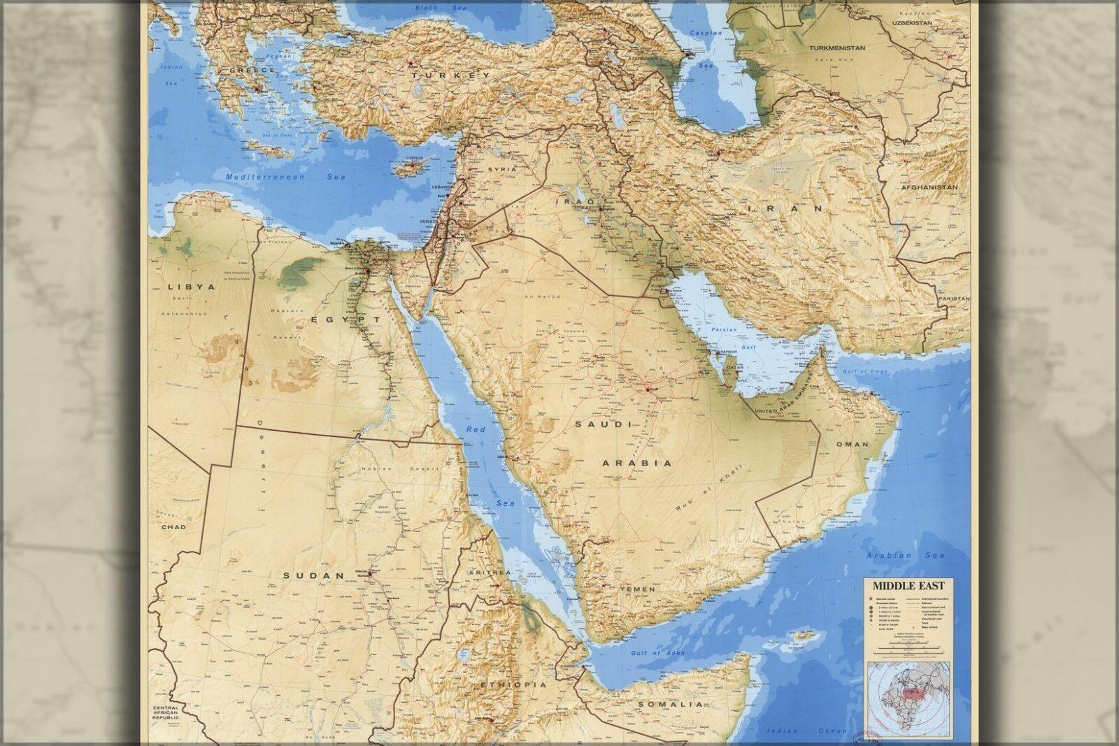 Plakat, Viele Größen; Cia Karte von Middle East Irak Iran Israel 1993