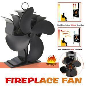 Black Heat Powered Wood Log Burning Fireplace Burner Mini Stove Top Fan 4 Blades