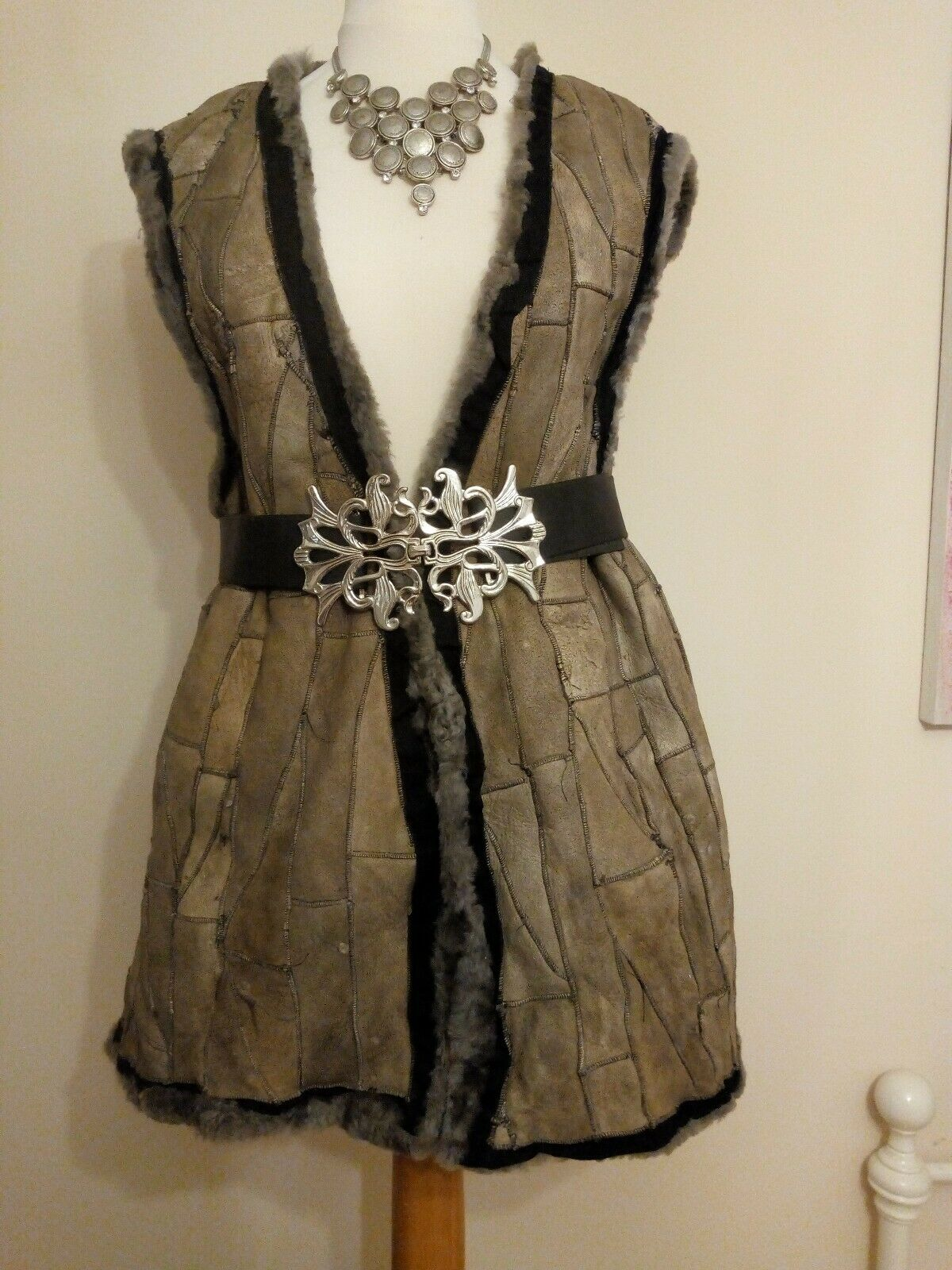 Grey suede patchwork gilet waistcoat -Ditsy Vintage Viking Pirate Fantasy Forest