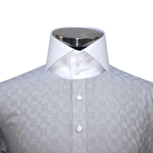 Camicia da Uomo Collo Alto Verde Oliva spaccato Grigio controlli Gents Camicia Abito Cotone