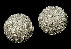 3 Drahtperlen Draht Kugel Perlen Basteln 20mm metall silber ...