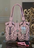 Western Montana West Embroidery Silver Concho Concealed Carry Shoulder Handbag
