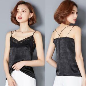 Ladies-Satin-Camisole-Strap-Vest-Spaghetti-Solid-Tank-Top-Faux-Silk-Floral-Lace