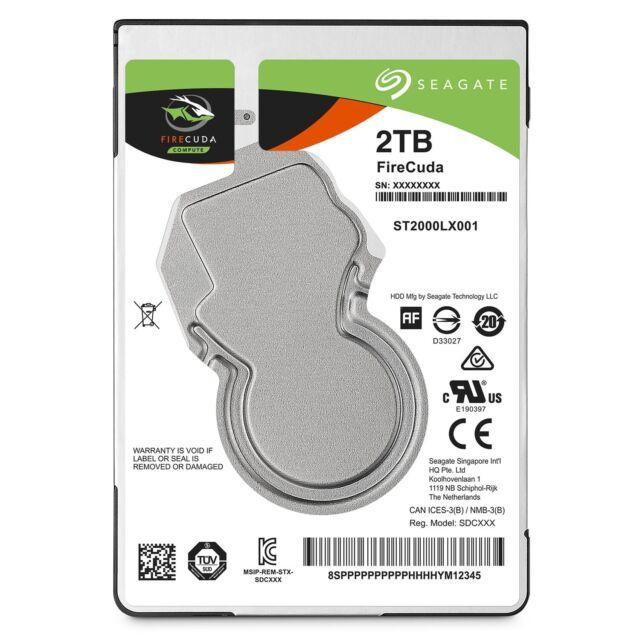 "Seagate FireCuda 2TB 2.5"" SATA Internal Laptop Hybrid Hard Drive SSHD 8GB SSD"